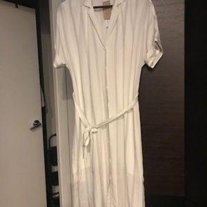 Short sleeved white with navy stripes dress.